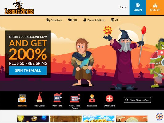 Lord of the Spins website screenshot